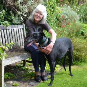 Jilly Cooper with rescue greyhound BlueBell courtesy Judy Zatonski