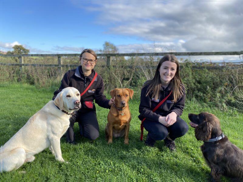 dog trainers hayley and charlotte with three medical detection dogs