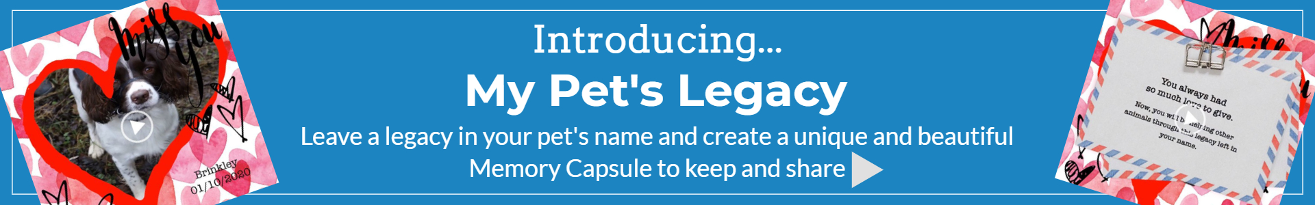 My Pet's Legacy homepage banner